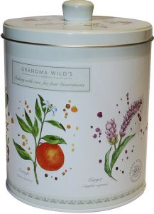Embossed Botanical Round Biscuit Tin