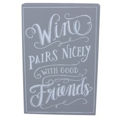 Wood Plaque 19cm - Grey Block Style/Wine ... Friends