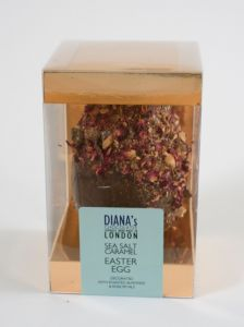 Sea Salt Caramel Easter Egg Decorated with Roasted Almonds and Rose Petals