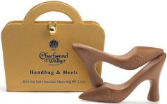 Gold Handbag and Milk Sea Salt Caramel Chocolate Heels